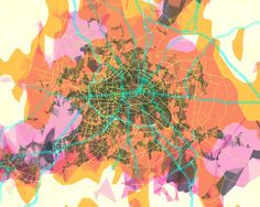 make map inspired abstract art blue and greens covered with red lines for roads