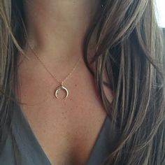 Gold Crescent Moon Necklace - N&K Designs