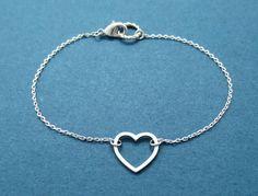 Open heart Love Bracelet Silver Heart Birthday Best by Gliget