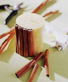 Winter DIY Cinnamon candles. Beautiful, easy, and smells delish. Definitely going to try this and maybe gift them