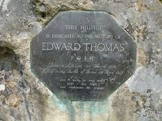"""Today, 9 Apr, we mark the passing in 1917 of Edward Thomas, Oxford graduate and great poet of the downlands, described by laureate Ted Hughes as 'the father of us all"""". He wrote of Oxford, and the Icknield Way, to name a very few. And I Rise Up, Start Of Ww1, British Poets, Ww1 Art, Fundraising Activities, Hampshire England, Memorial Stones, Essayist, Creative Workshop"""