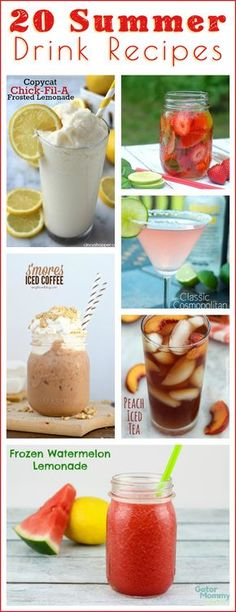 20 Delicious Summer Drinks Recipes for the pool, lake or your next cookout!