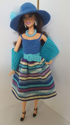 Barbie dress | Etsy Barbie Clothes Patterns, Crochet Barbie Clothes, Clothing Patterns, Barbie Accessories, Crochet Accessories, Crochet Doll Pattern, Crochet Dolls, Family Outfits, Barbie Dress