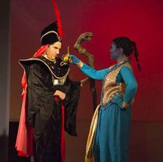 page gives good description of genie's costume elements.  Aladdin, Jr | Theater Costume Rentals