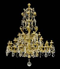 Louis XV, Genoa, 18th/19th century. Richly carved and gilt wood with rich, partly cut-glass and crystal hangings. With 36 branches.
