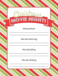 Plan a Christmas movie night with easy ideas and free printables, plus a list of the 45 Best Christmas Movies! Invite family or friends and make it a party! Christmas List Maker, Christmas List Template, Christmas List Printable, Christmas Movies List, Christmas Movie Night, Family Movie Night, Christmas Holidays, Christmas 2019, Christmas Activities