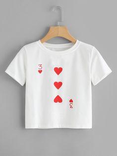Shop Poker Card Print T-shirt online. SheIn offers Poker Card Print T-shirt & mo - Fashionable T Shirt - Ideas of Fashionable T Shirt - Shop Poker Card Print T-shirt online. SheIn offers Poker Card Print T-shirt & more to fit your fashionable needs. Shirt Print Design, T Shirt Print, T Shirt Designs, Painted Clothes, Shirt Embroidery, Diy Clothes, Cool Shirts, Printed Shirts, Shirt Style