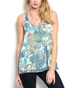 Another great find on #zulily! Ivory & Blue Floral Racerback Tank by Buy in America #zulilyfinds