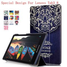 2017 new Colored Drawing Pu Leather Stand Cover Shield For Lenovo Tab 3 8 inch  Tab3 TB3-850F/M LTE Tablet case +OTG+Pen+ film