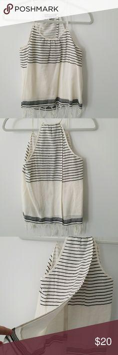 Halter top (Stitch Fix) Kapitol (as sold by Stitch Fix!) Carlin Fringe Detail 100% Cotton Top. Open back. Off white, black stripes. Kapitol Tops Tank Tops
