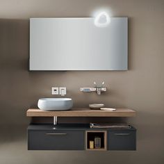 Blizzard 22 bathroom vanity with vessel sink and minimal mirror with LED light Modern Bathroom Design, Bathroom Interior Design, Bathroom Storage, Small Bathroom, Italian Bathroom, Washbasin Design, Basin Cabinet, Mirror With Led Lights, Vanity Design