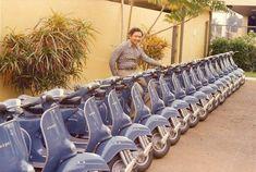 A man posing with a row of Vespa scooters in their factory, about Piaggio Vespa, Vespa Lambretta, Vespa Scooters, Vintage Bikes, Vintage Motorcycles, Vintage Vespa, Vintage Italy, Vintage Artwork, Vintage Photos
