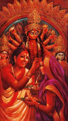 Hindu Cosmos — Durga Puja - Shubho Bijoya Bengal Oil on Canvas. Festivals Of India, Festivals Around The World, Indian Festivals, Durga Maa Paintings, Durga Painting, Indian Women Painting, Indian Art Paintings, Acrylic Paintings, Maa Durga Photo