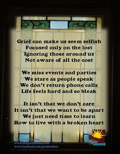 Grief - learning to live with a broken heart. Visit the Perfect Memorials website for many products to memorialize your loved ones!