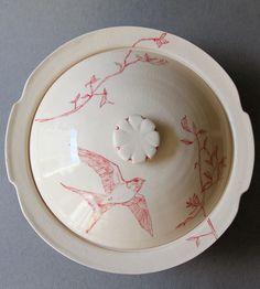 Red Bird Ceramic Casserole Lid & Dish