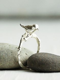 BIRD RING Adjustable Silver Ring Woodland Ring by redtruckdesigns