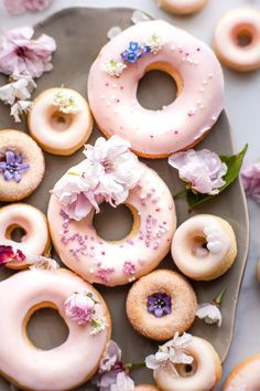 These simple vanilla and buttermilk baked donuts are a mix of old fashioned nostalgia and modern healthy(er) treat. Tender crumb, vanilla scented and glazed with an old fashioned milk glaze. Mini Donuts, Cute Donuts, Baked Donuts, Doughnuts, Fancy Donuts, Delicious Donuts, Delicious Desserts, Köstliche Desserts, Dessert Recipes