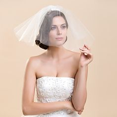 Two Tier Blusher Wedding Veil With Flower(More Colors) – USD $ 7.99