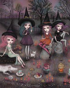 Graveyard Girl, Spooky Stories, Witch Art, Lowbrow Art, Illustrations, Halloween Art, Happy Halloween, Whimsical Art, Magical Girl