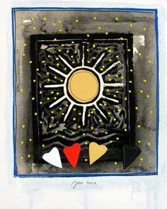 """andrea mattiello """"il sole scalda l'amore perfetto""""   acrilico e collage su cartone vegetale cm 20x25; 2012"""