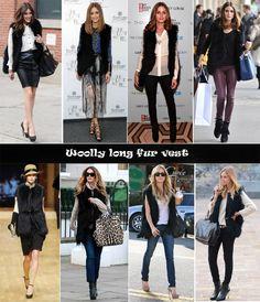 Olivia Palermo Vintage Woolly Black Fur Vest. Looks like CAbi Fall '14 www.christineworrell.cabionline.com