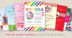 Find the perfect party invitation over 45 party themes! Free printables!