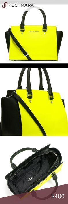 MICHAEL KORS SELMA SAFFIANO SATCHEL BAG NWT$425 Authentic Michael Kors Selma made from saffiano leather. Color is neon yellow and black. Silver hardware. Comes with crossbody strap and dustbag. ... H: 10 in. W: 15 in. Michael Kors Bags Satchels