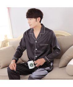 01f0398c343 Solid color luxury men s Satin pajama sets comfy lounge pajamas male Mens  Cotton Pajamas