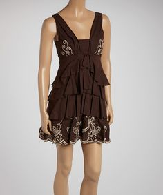 Another great find on #zulily! Brown Ruffle Sleeveless Dress by Ryu #zulilyfinds