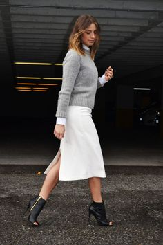 new york fashion week style, what i would wear, white midi skirt, button up blouse, grey cropped sweater, peep toe booties, fall 2014 trends, the august diaries, vancouver style and fashion blog1