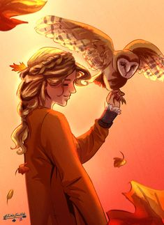 "ace-artemis-fanartist: "" A very autumn inspired Annabeth Chase. I tried thinking of a reason why she shouldn't be hanging out with one of her mom's owls, and I can't see why not. Arte Percy Jackson, Percy Jackson Memes, Percy Jackson Books, Percy Jackson Fandom, Percy Jackson Drawings, Percy Jackson Annabeth Chase, Percabeth, Solangelo, Percy Jackson Characters"