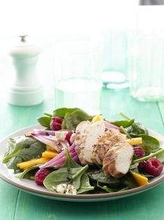 Mango-Raspberry Grilled Chicken Salad #myplate