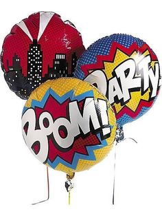 Complete your Superhero party decorations with this set of 3 round 18 inch Superhero mylar balloons. Each balloon is made up of red, yellow, and blue words like Boom! and Party! and a cityscape. Perfe