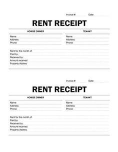 Basic Rent Receipt - Microsoft Word Template and PDF printout ...