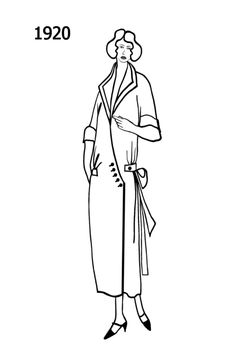 Silhouette line drawing of wrap dress  - 1920