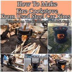 """How To Make Fire Cookstove From Used Steel Car Rims Homesteading  - The Homestead Survival .Com     """"Please Share This Pin"""""""