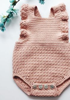 Hand Crocheted Organic Cotton Romper | jharlowandco on Etsy