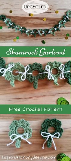 Crochet Upcycled Shamrock Garland. Free pattern. Tap into the luck of the Irish with this holiday decoration that reuses the plastic ring from water bottles! Beginner friendly.