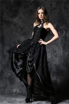 KW090 Gothic lace long dress with satin crimple