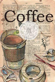 Druck: Coffee to Go-Gemischte Medien Zeichnung auf antike Wörterbuch
