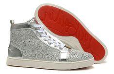 christian louboutin silver diamond sneakers @clredsolesale.com