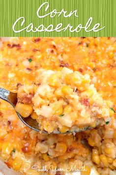 40 minutes · Serves 8 · This easy corn casserole recipe dish comes together quickly with just corn, butter, cheddar cheese, bacon, a little flour, eggs and chives!