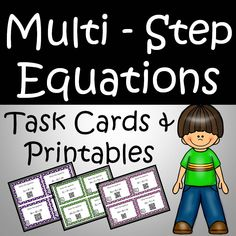 Multi Step Equations Task Cards and Printables Includes Variables on both sides, Literal equations, Absolute value, and Combining like terms Literal Equations, Algebra Equations, Solving Equations, Combining Like Terms, Teacher Resources, Science Resources, Activities, Teaching Ideas, Math Graphic Organizers