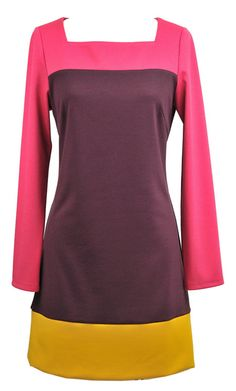 love the color blocks in this color block mod dress!