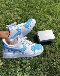 Baby Blue Drip by jeekoscustoms Cute Sneakers, Sneakers Mode, Sneakers Fashion, Jordan Shoes Girls, Girls Shoes, Painted Sneakers, Nike Shoes Air Force, Fly Shoes, Aesthetic Shoes