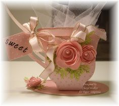 Hello everyone and Happy Thursday to all! Today I wanted to share my Tea Cup made with BEAUTIFUL Card Stock from Paper Temptress. I decided to use the Beautiful Paper Tea Cups, Vintage Tea Parties, Tea Party Favors, Shaped Cards, Fun Fold Cards, Wonderland, Mothers Day Cards, Sweet Tea, Card Tags