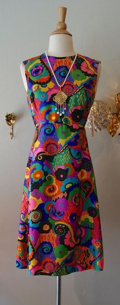 1960s Psychedelic Silk Dress by Victor Costa
