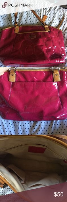 Rose Coach purse Big purse with lots of room. Has a couple scuff marks on the bottom because it was used. Coach Bags Shoulder Bags