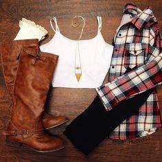 Plaid | leggings | boots | fall