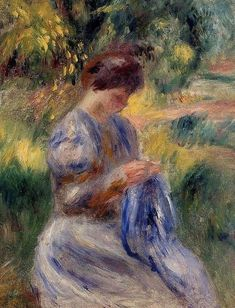 Pierre Auguste Renoir (French artist, 1841-1919) The Embroiderer a Woman Embroidering in a Garden